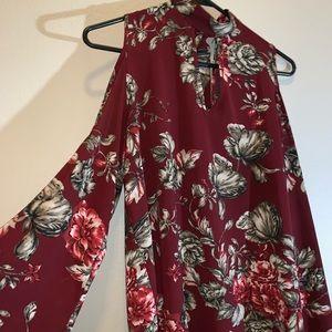 Women's Maroon Floral Blouse